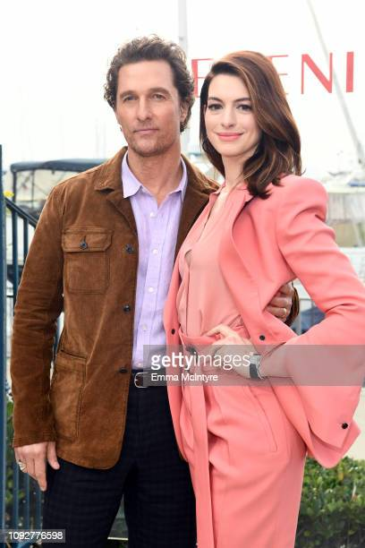 Matthew McConaughey and Anne Hathaway attend the photo call for Aviron Pictures Serenity at Ritz Carlton Hotel on January 11 2019 in Marina del Rey...