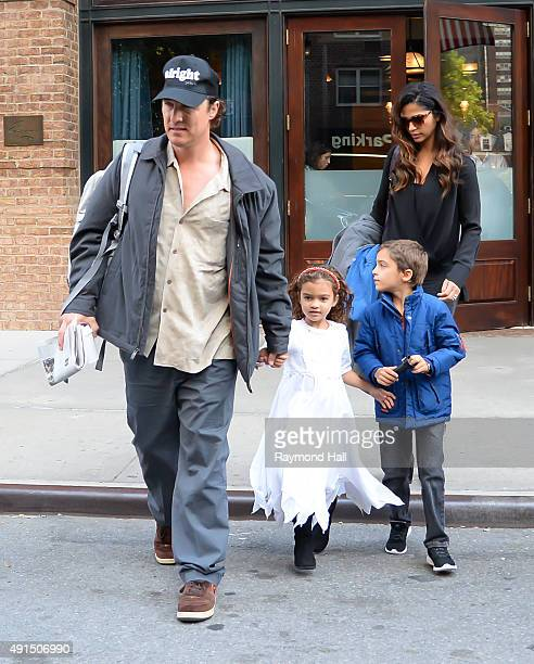 Matthew Mcconaughey and Camila Alves are seen out in Tribeca with Levi Alves McConaughey and Vida Alves McConaughey October 5, 2015 in New York City.