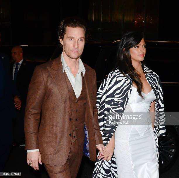 Matthew McConaughey and Camila Alves are seen walking in midtown on January 23, 2019 in New York City.
