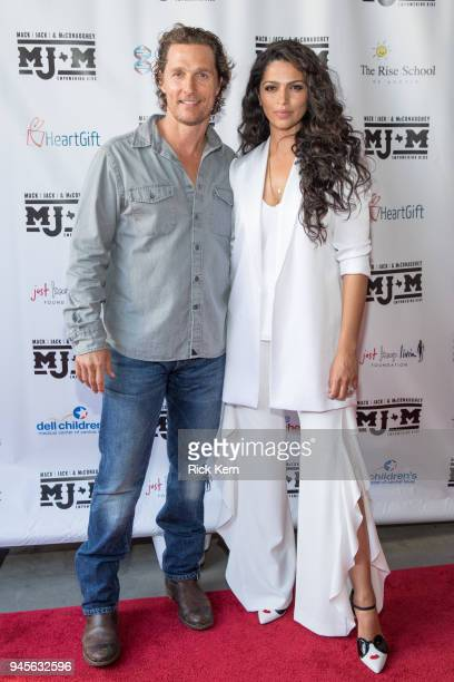 Matthew McConaughey and Camila Alves arrive at the Mack Jack McConaughey charity gala at ACL Live on April 12 2018 in Austin Texas