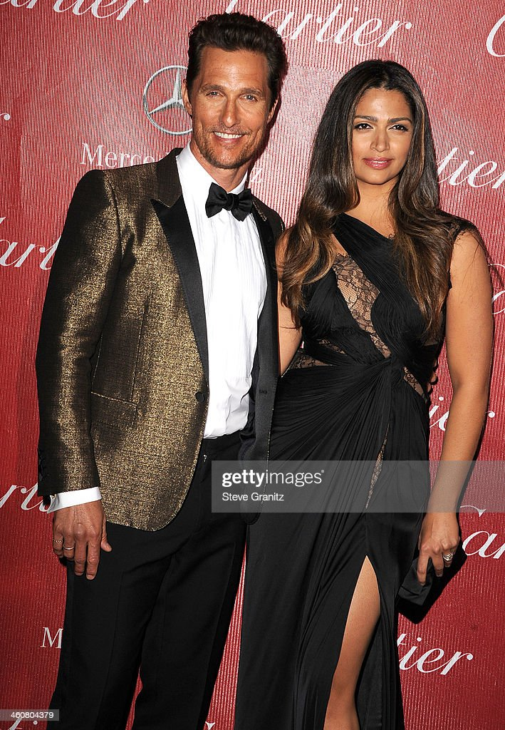 Matthew McConaughey and Camila Alves arrives at the 25th Annual Palm Springs International Film Festival Awards Gala at Palm Springs Convention Center on January 4, 2014 in Palm Springs, California.