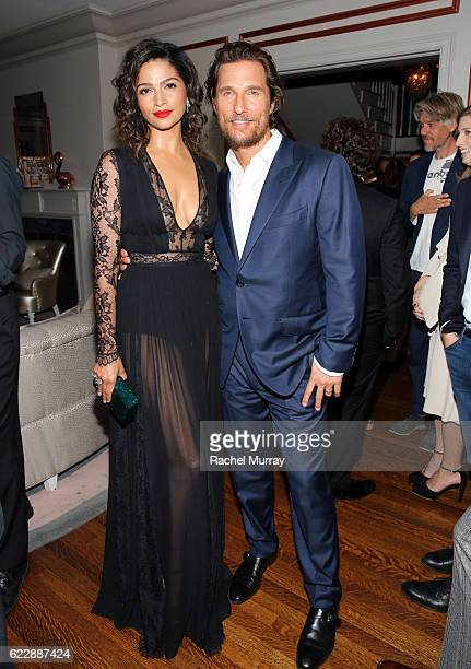 Matthew McConaughey and Camila Alves attend as The Weinstein Company celebrates the cast and filmmakers of Sing Street Lion The Founder and Gold at...