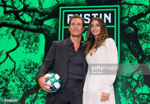 Matthew McConaughey and Camila Alves attend the Austin FC Major League Soccer club announcement of four new investors including Matthew McConaughey...
