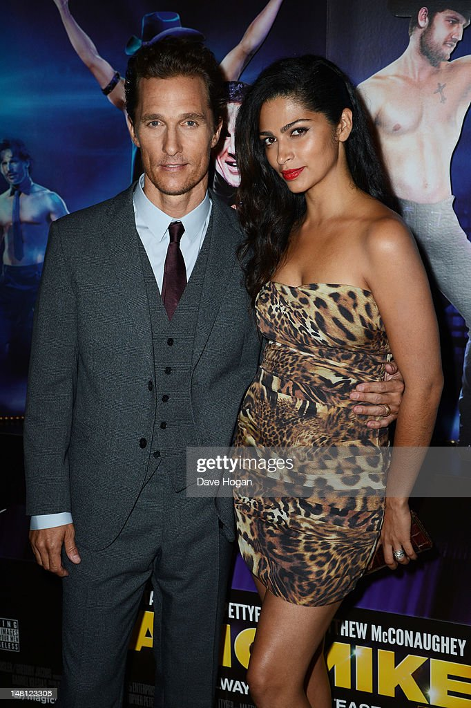 Matthew McConaughey and Camila Alves attend the European premiere of Magic Mike at The Mayfair Hotel on July 10, 2012 in London, England.