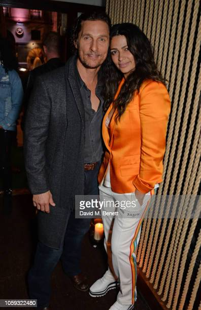 Matthew McConaughey and Camila Alves attend the launch party of new bar The Parrot at The Waldorf Hilton hosted by Idris Elba on November 8 2018 in...