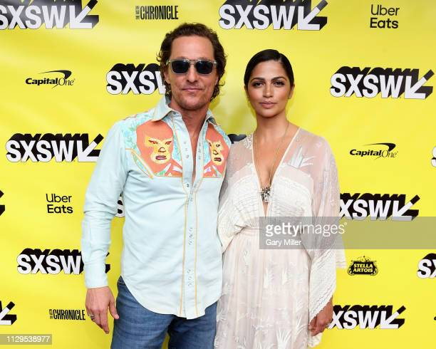 Matthew McConaughey and Camila Alves attend the premiere of The Beach Bum at the Paramount Theatre during the SXSW Conference And Festival on March 9...