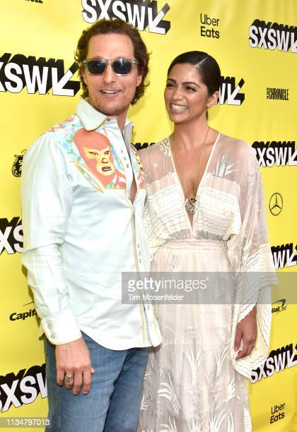 Matthew McConaughey and Camila Alves attend the premiere of The Beach Bum during the 2019 SXSW Conference and Festival at the Paramount Theatre on...