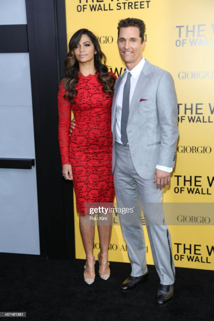 Matthew McConaughey and Camila Alves attend the 'The Wolf Of Wall Street' premiere at Ziegfeld Theater on December 17, 2013 in New York City.