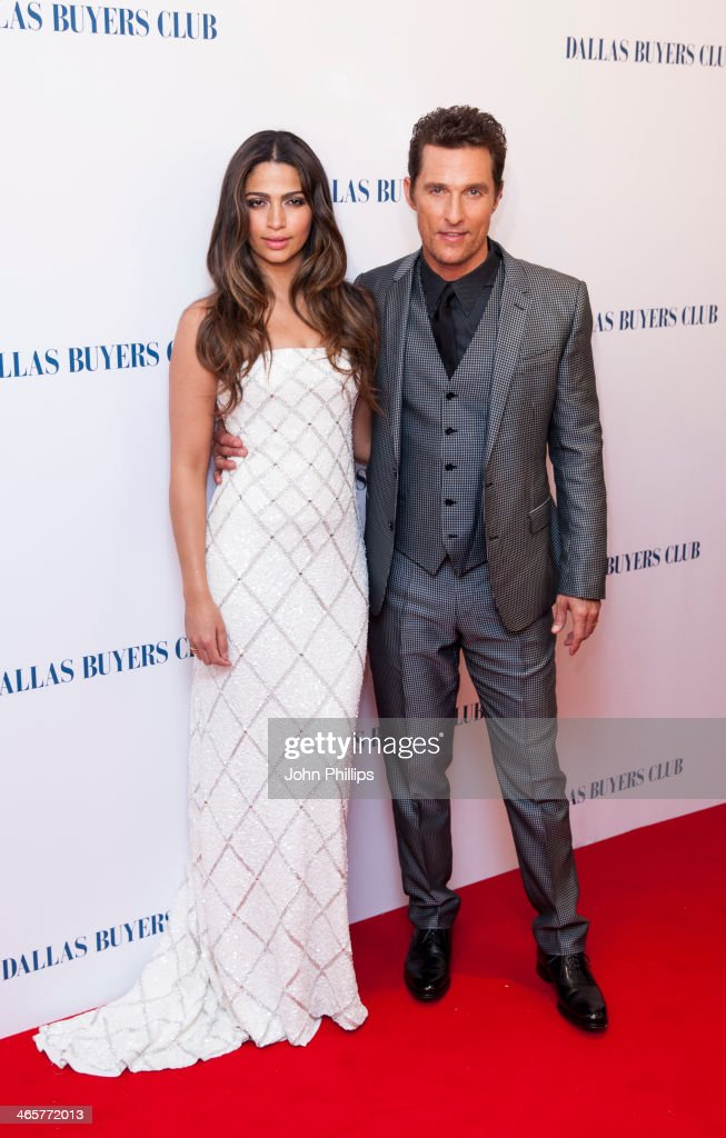 Matthew McConaughey and Camila Alves attends the UK Premiere of 'Dallas Buyers Club' at The Curzon Mayfair on January 29, 2014 in London, England.