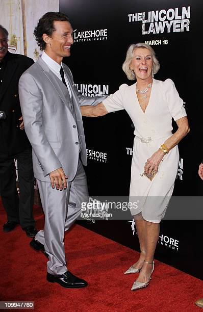 Matthew McConaughey and his mom Kay McConaughey arrive at a special screening of The Lincoln Lawyer held at ArcLight Hollywood on March 10 2011 in...