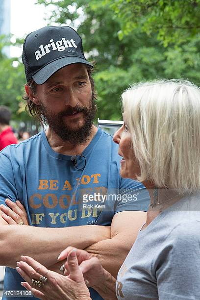 Matthew McConaughey and his mother Kay McConaughey attend the just keep livin popup shop on April 17 2015 in Austin Texas