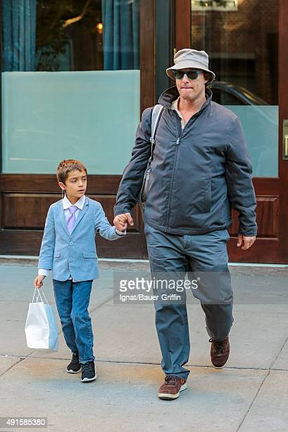 Matthew McConaughey and his son Levi McConaughey are seen on October 06, 2015 in New York City.