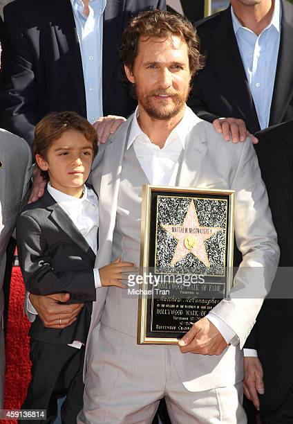 Matthew McConaughey and his son, Levi McConaughey attend the ceremony honoring his with a Star on The Hollywood Walk of Fame on November 17, 2014 in...