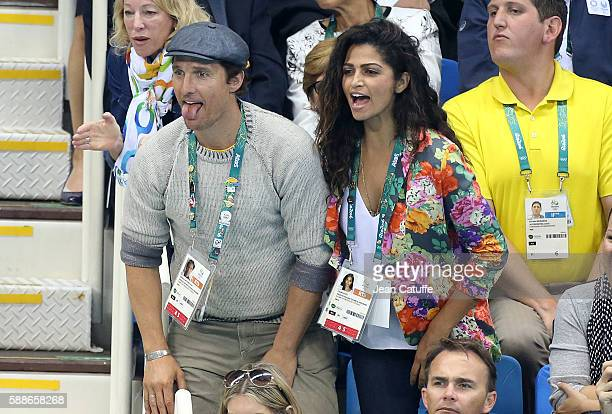 Matthew McConaughey and his wife Camila Alves attend the swimming finals on day 6 of the Rio 2016 Olympic Games at Olympic Aquatics Stadium on August...