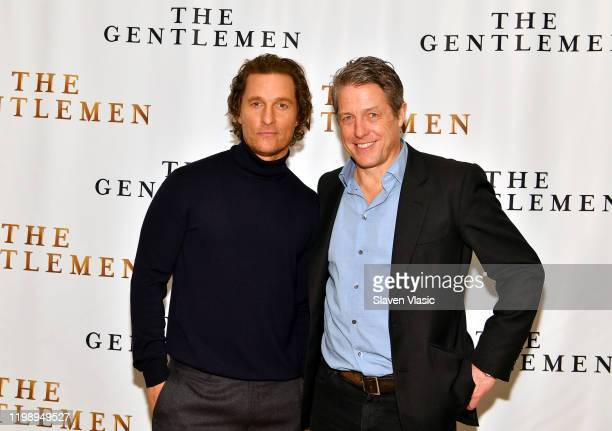 Matthew McConaughey and Hugh Grant attend the NY Photo Call for The Gentlemen at The Whitby Hotel on January 11 2020 in New York City