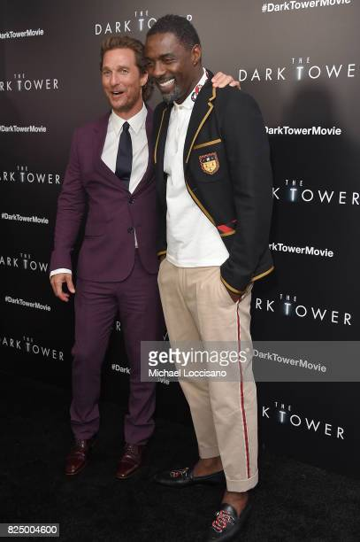 Matthew McConaughey and Idris Elba attend 'The Dark Tower' New York Premiere on July 31 2017 in New York City