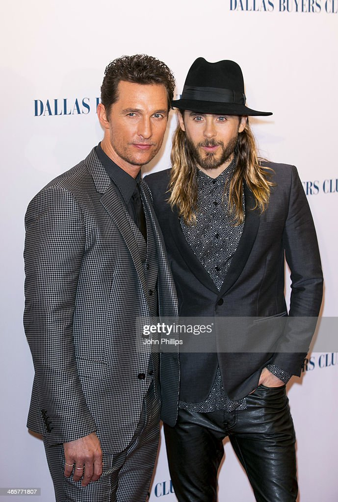 Matthew McConaughey and Jared Leto attend the UK Premiere of 'Dallas Buyers Club' at The Curzon Mayfair on January 29, 2014 in London, England.