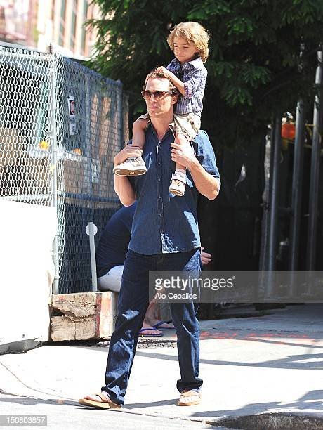Matthew McConaughey and Levi Alves McConaughey are seen in tribeca at Streets of Manhattan on August 26, 2012 in New York City.