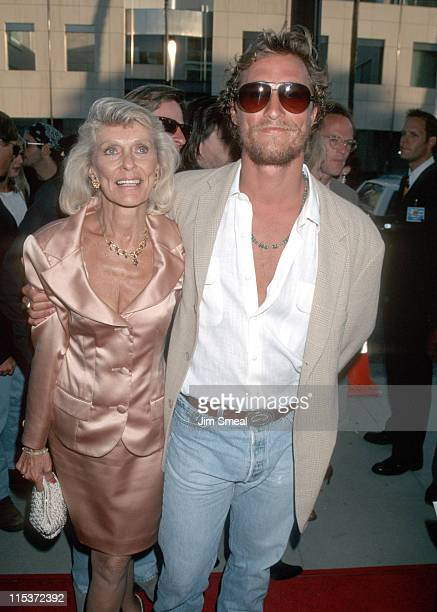 Matthew McConaughey and Mother during A Time to Kill Los Angeles Premiere at The Academy in Beverly Hills California United States