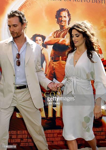 "Matthew McConaughey and Penelope Cruz during ""Sahara"" Madrid Photocall at Villa Magna Hotel in Madrid, Spain."