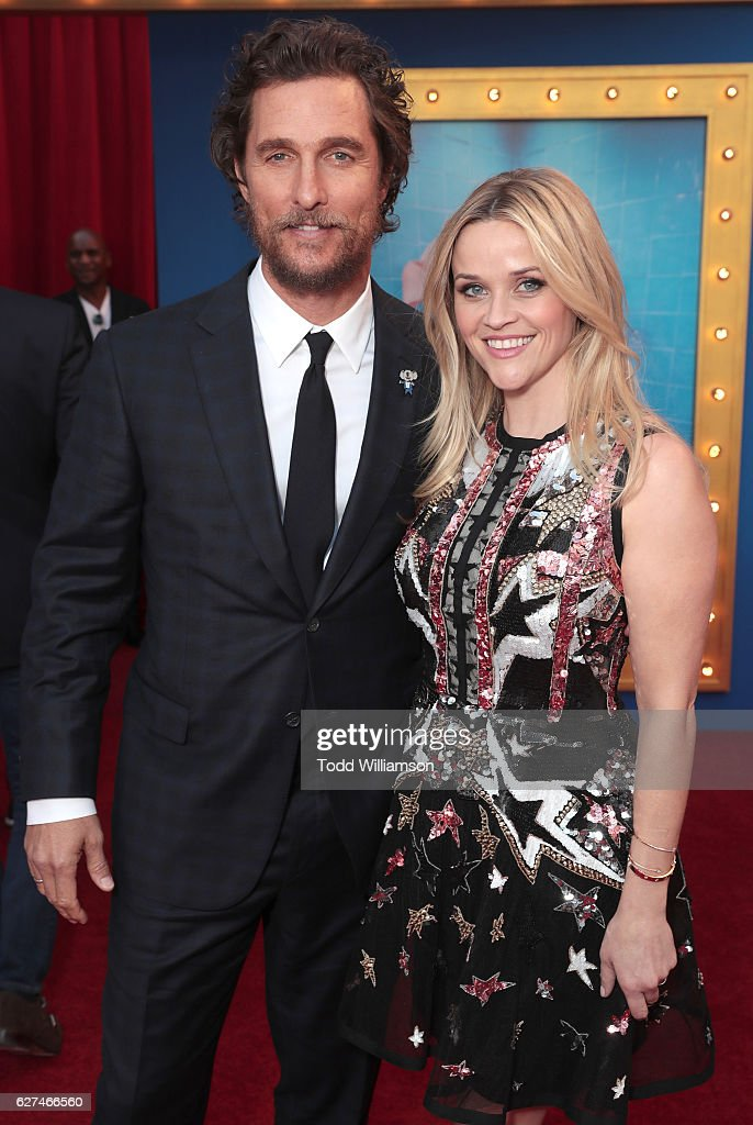 Matthew McConaughey and Reese Witherspoon attend the premiere Of Universal Pictures' 'Sing' on December 3, 2016 in Los Angeles, California.
