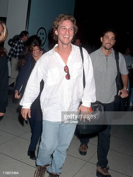 Matthew McConaughey and Sandra Bullock during Matthew McConaughey and Sandra Bullock Depart Los Angeles for New York City January 31 1997 at Los...