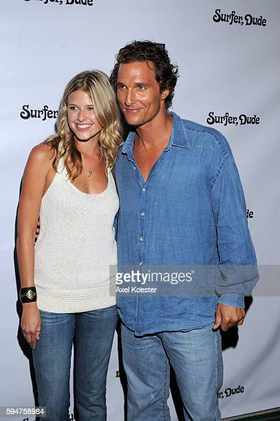 Matthew McConaughey and Sarah Wright arrive at the premiere of 'Surfer Dude' at Malibu Cinemas