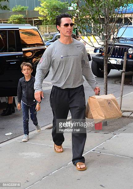 Matthew McConaughey and son, Levi McConaughey are seen walking in Soho on June 30, 2016 in New York City.