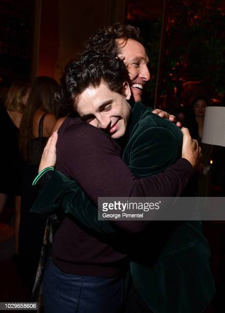 Matthew McConaughey and Timothee Chalamet attend 2018 HFPA and InStyle's TIFF Celebration at the Four Seasons Hotel on September 8 2018 in Toronto...