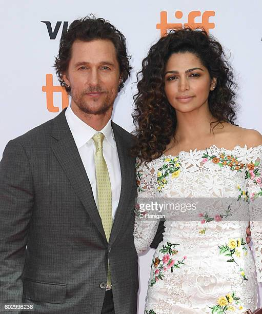 Matthew McConaughey and wife Camila Alves attend the premiere of 'Sing' during the 2016 Toronto International Film Festival at Princess of Wales...