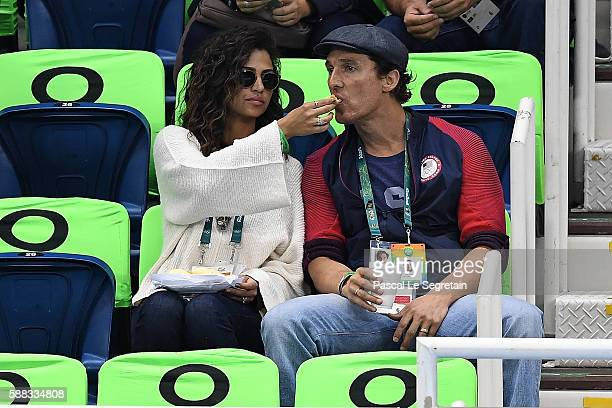 Matthew McConaughey and wife Camilla Alvez attend swimming semifinals and finals on Day 5 of the Rio 2016 Olympic Games at the Olympic Aquatics...
