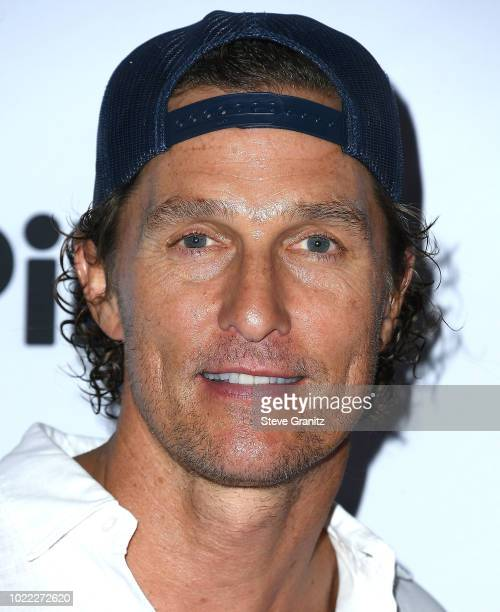Matthew McConaughey arrives at the 6th Annual PingPong4Purpose at Dodger Stadium on August 23 2018 in Los Angeles California