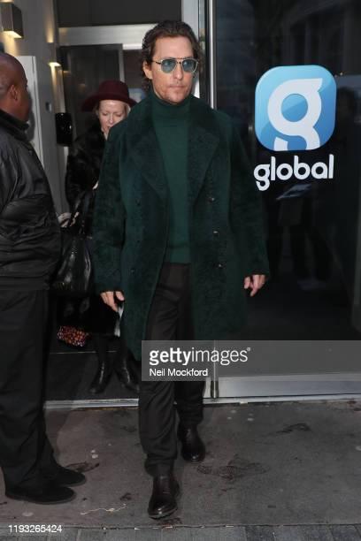 Matthew McConaughey arriving at Heart Breakfast Radio Studios on December 11, 2019 in London, England.