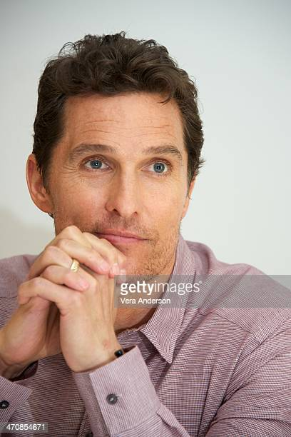"""Matthew McConaughey at the """"True Detective"""" Press Conference at the Four Seasons Hotel on February 19, 2014 in Beverly Hills, California."""