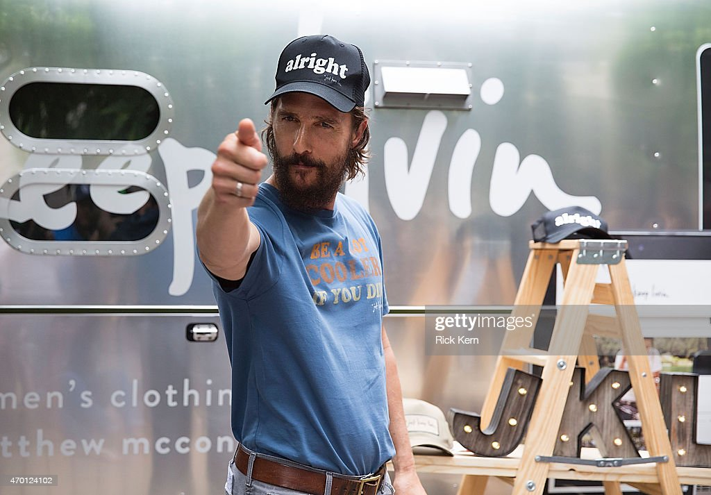 Matthew McConaughey attends his 'just keep livin' pop-up shop on April 17, 2015 in Austin, Texas.