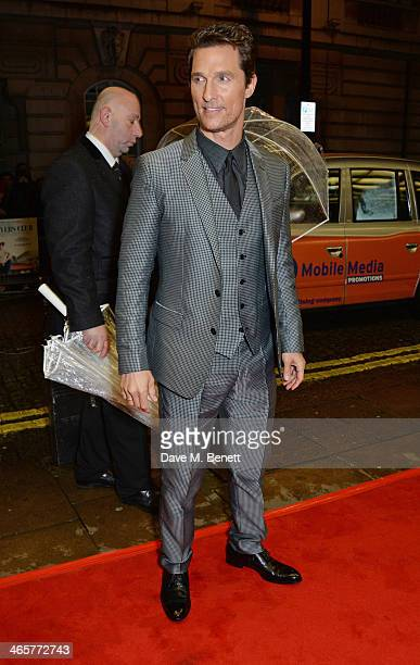 Matthew McConaughey attends the UK Premiere of 'Dallas Buyers Club' at The Curzon Mayfair on January 29 2014 in London England