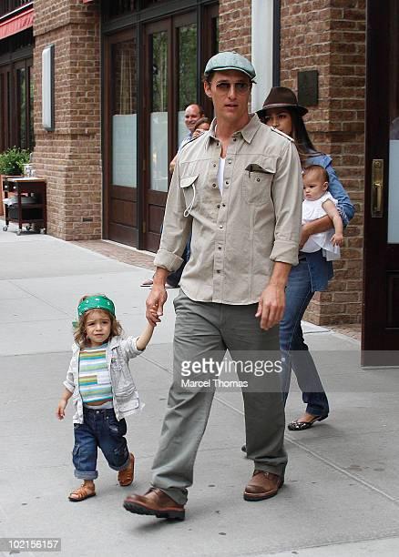 Matthew McConaughey, Camila Alves and children Levi McConaughey and Vida McConaughey sighting in Tibeca on June 16, 2010 in New York, New York.