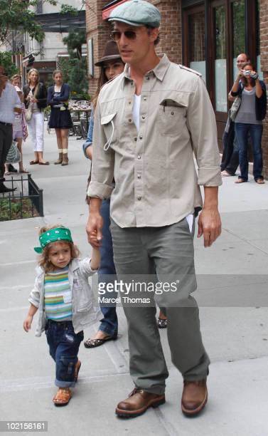 Matthew McConaughey, Camila Alves and son Levi McConaughey sighting in Tibeca on June 16, 2010 in New York, New York.