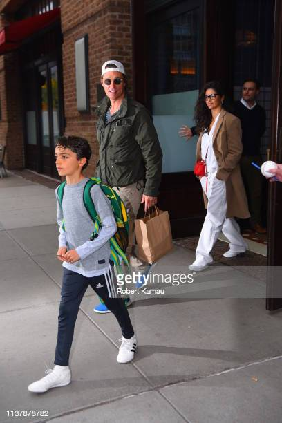 Matthew McConaughey Camila Alves and their son Levi seen out and about in Manhattan on April 18 2019 in New York City