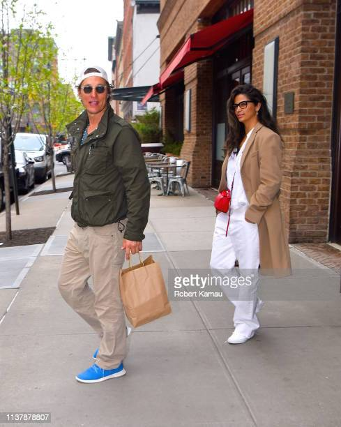 Matthew McConaughey Camila Alves and their son seen out and about in Manhattan on April 18 2019 in New York City