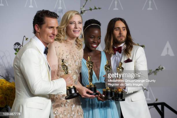 Matthew McConaughey Cate Blanchett Lupita Nyong'o and Jared Leto display their Oscars during the 86th annual Academy Awards at the Dolby Theater in...