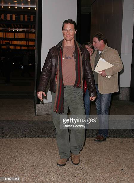 Matthew McConaughey departs after appearing on MTV's 'TRL' at MTV Studios Times Square on February 5 2008 in New York City