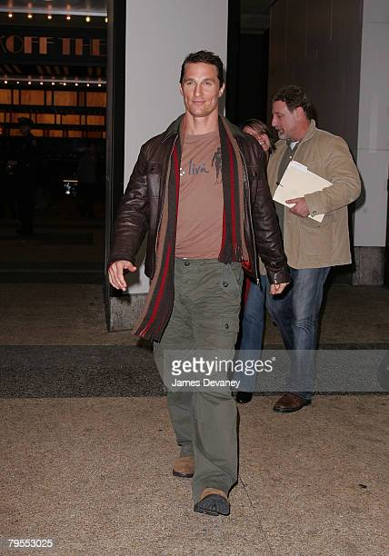"""Matthew McConaughey departs after appearing on MTV's """"TRL"""" at MTV Studios, Times Square on February 5, 2008 in New York City."""