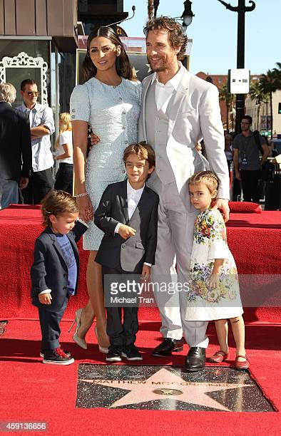 Matthew McConaughey his wife Camila Alves McConaughey and their children attend the ceremony honoring Matthew McConaughey with a Star on The...
