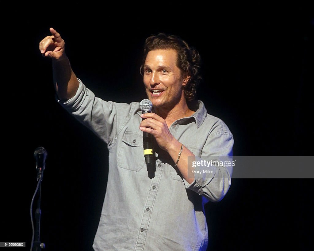 Matthew McConaughey introduces the Dixie Chicks during the Mack, Jack & McConaughey charity gala at ACL Live on April 12, 2018 in Austin, Texas.