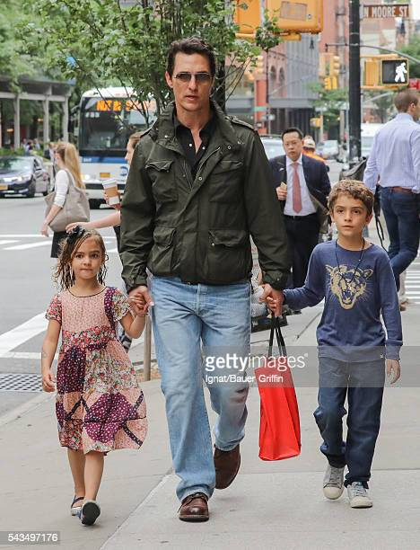 Matthew McConaughey is seen with his daughter Vida and his son Levi on June 28 2016 in New York City