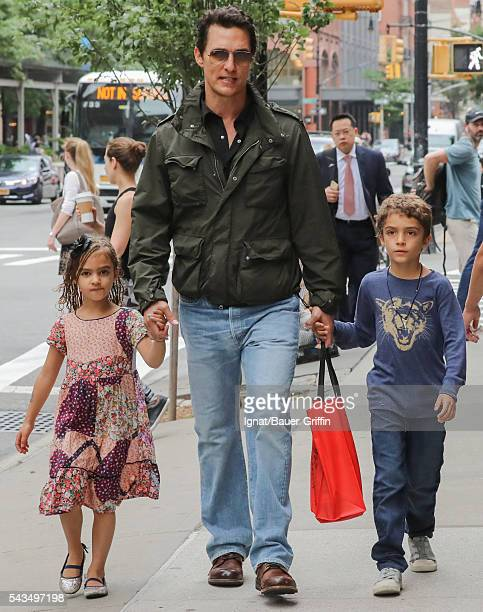 Matthew McConaughey is seen with his daughter, Vida and his son, Levi on June 28, 2016 in New York City.