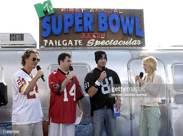 Matthew McConaughey Jimmy Kimmel Carson Daly and Kate Hudson during MTV's First Annual Super Bowl Tailgate Spectacular