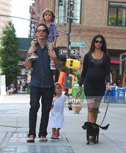 Matthew McConaughey, Levi Alves McConaughey, Vida Alves McConaughey and Camila Alves are seen in tribeca at Streets of Manhattan on August 26, 2012...