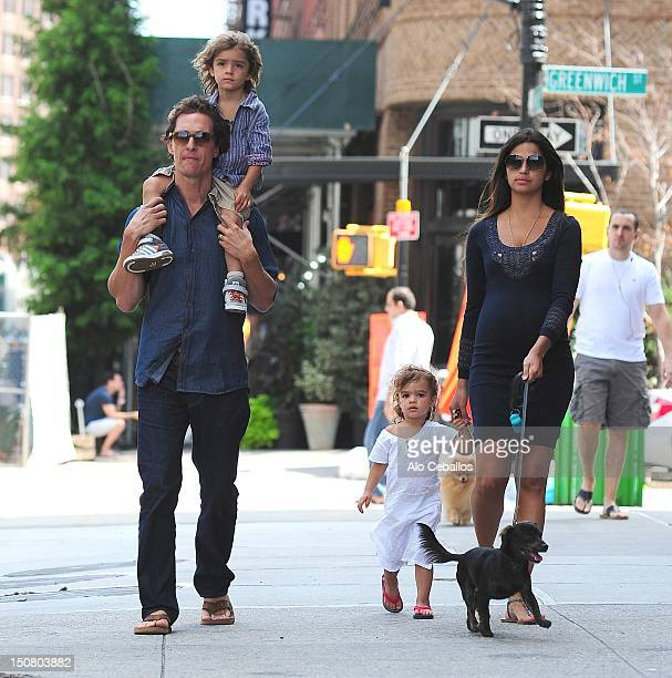 Matthew McConaughey, Levi Alves McConaughey, Vida Alves McConaughey and Camila Alves are seen in tribeca at Streets of Manhattan on August 26, 2012...
